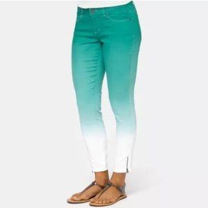 PrAna 12/31 NWOT Green Ombre Zipper Ankle Jeans